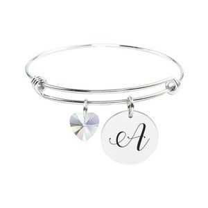 Stainless Steel Initial Bangle Bracelet w/ Crystal